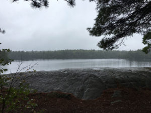 Rainfall during a wet morning on Bonnechere Lake, view from our campsite