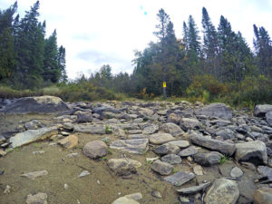 A rocky start to the portage from Head Lake to Harness Lake