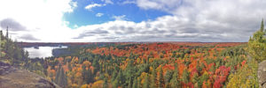 Panoramic view from the Skymount Looking overlooking the fall colours