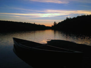 Sunset on Linda Lake with my solo canoe in view