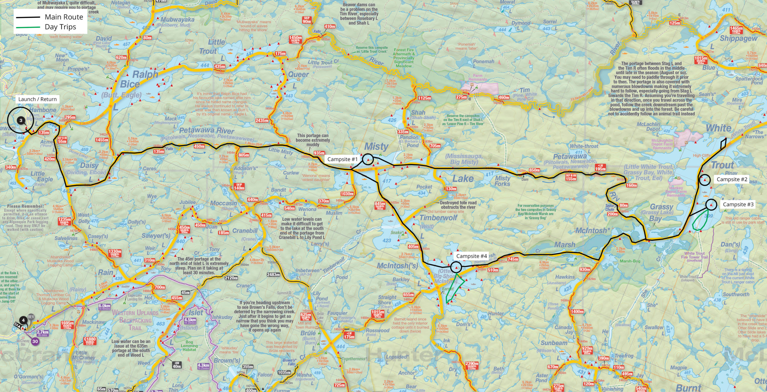 Map of trip details and campsites for six days solo in Algonquin canoe trip