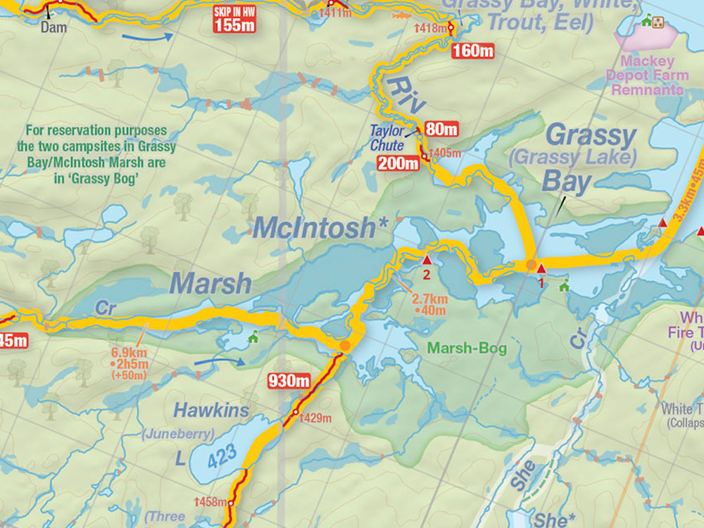Map of Grassy Bay campsites in Algonquin Park
