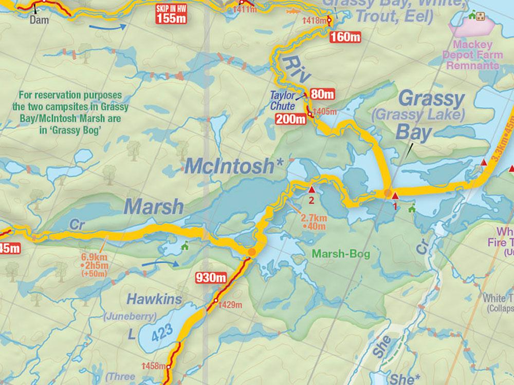 Map of Grassy Bay campsites in Algonquin Park