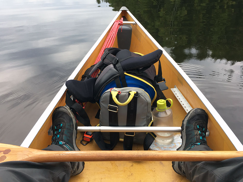 My comfortable set up in my solo canoe
