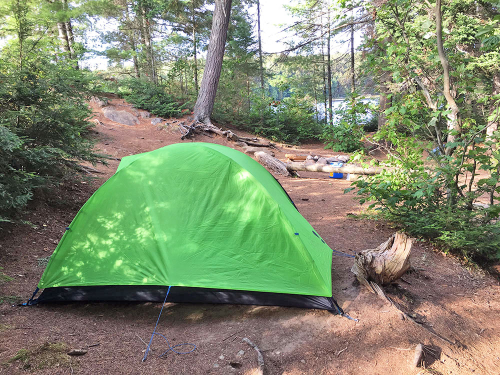 My green tent pitched on Misty Lake island campsite #6