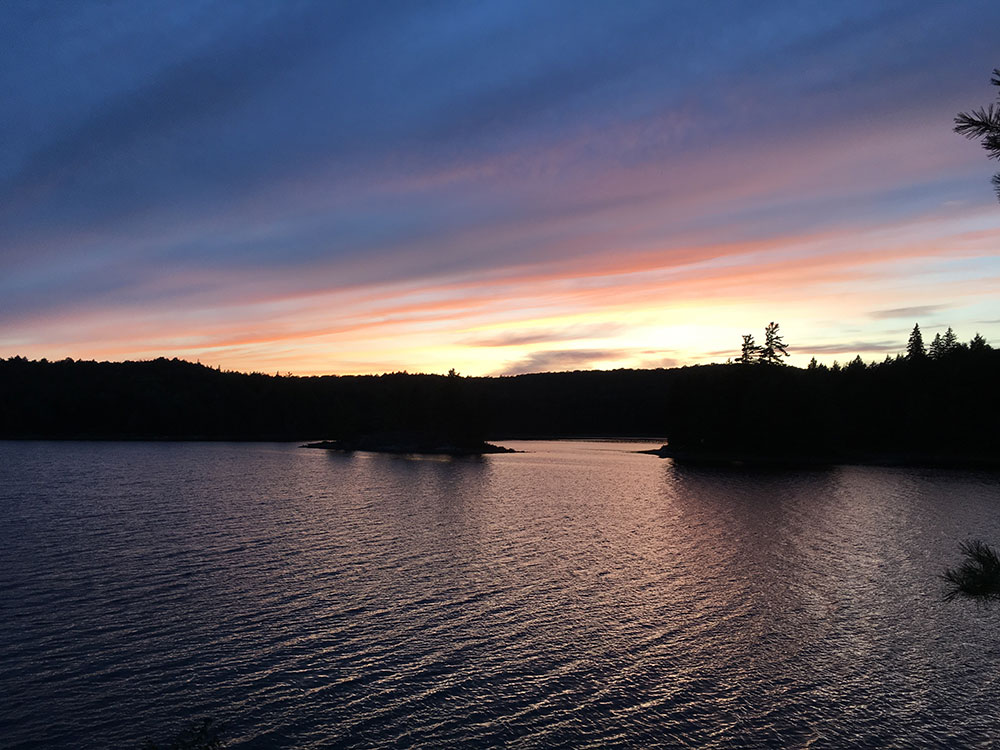 Late sunset looking west on Misty Lake in Algonquin Park
