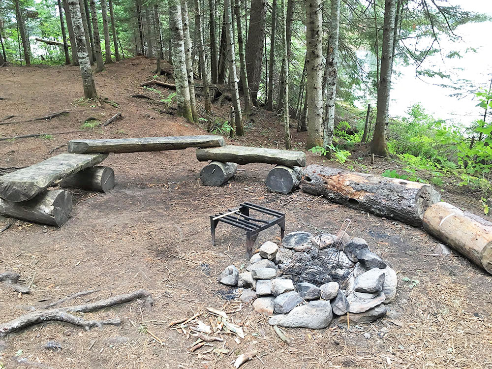 Fire pit and seating on White Trout Lake campsite #10