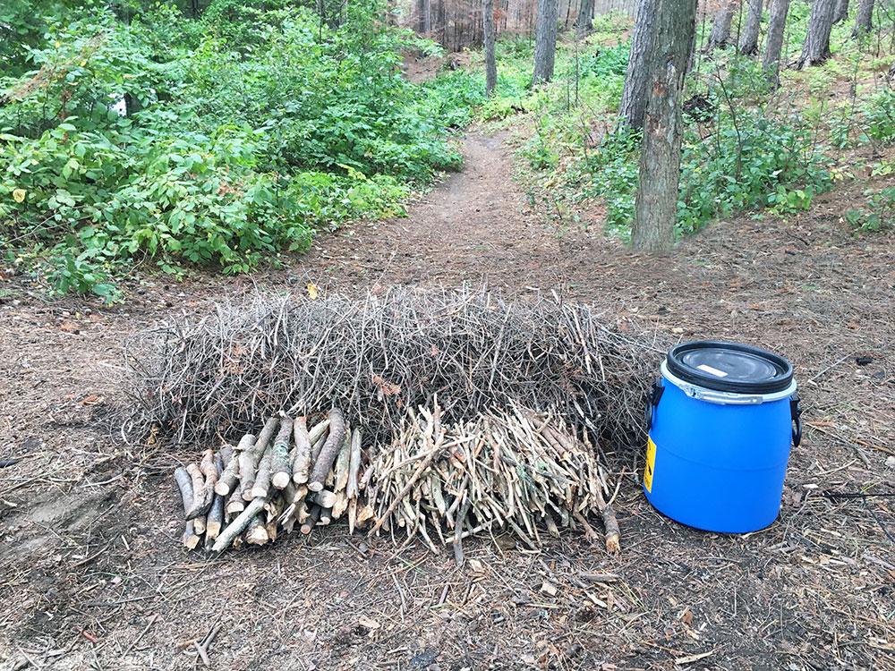 Huge pile of firewood beside 20l blue barrel