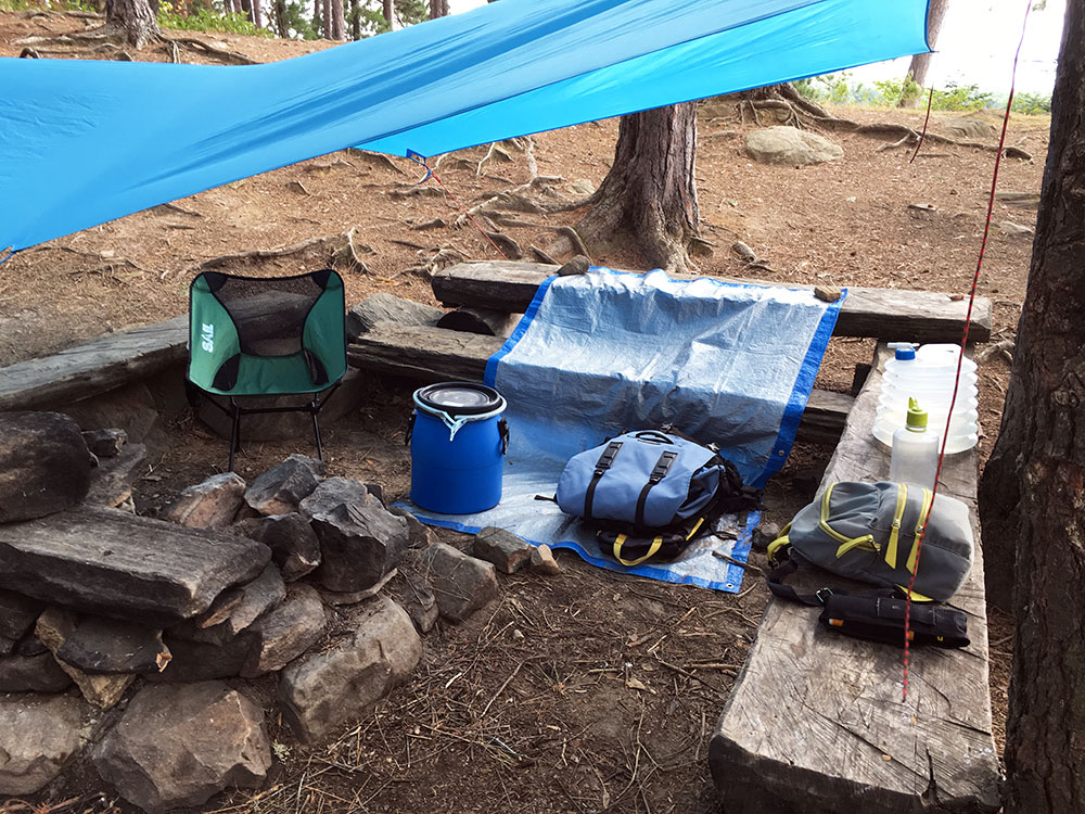 Gear set up under tarp on my White Trout Lake campsite