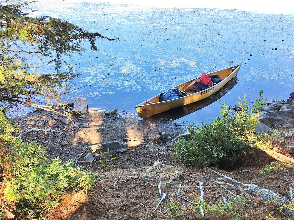 Canoe landing at Grassy Bay campsite in Algonquin Park