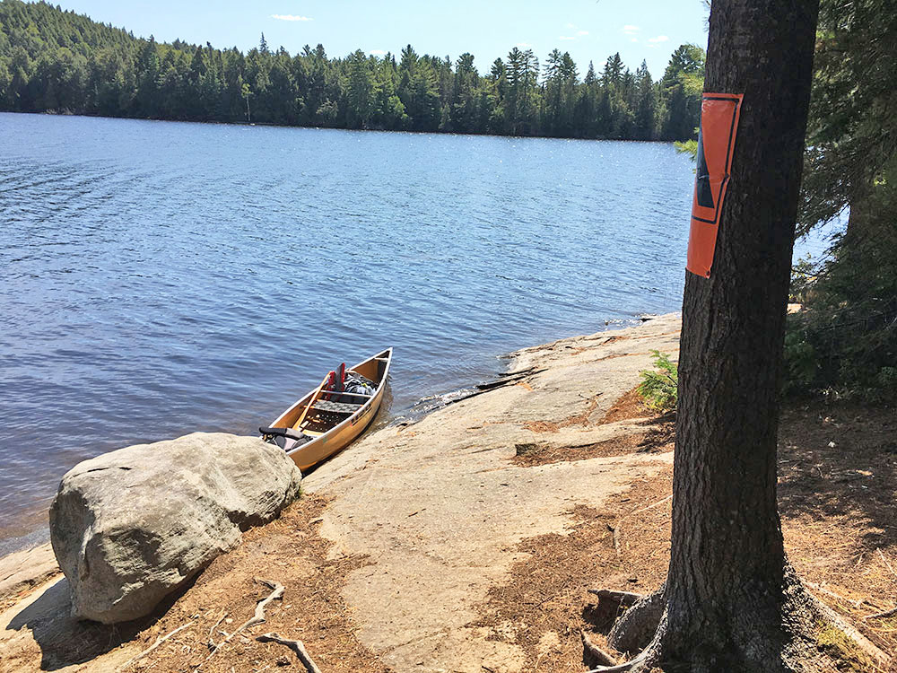 Canoe landing at island campsite #10 on McIntosh Lake in Algonquin Park