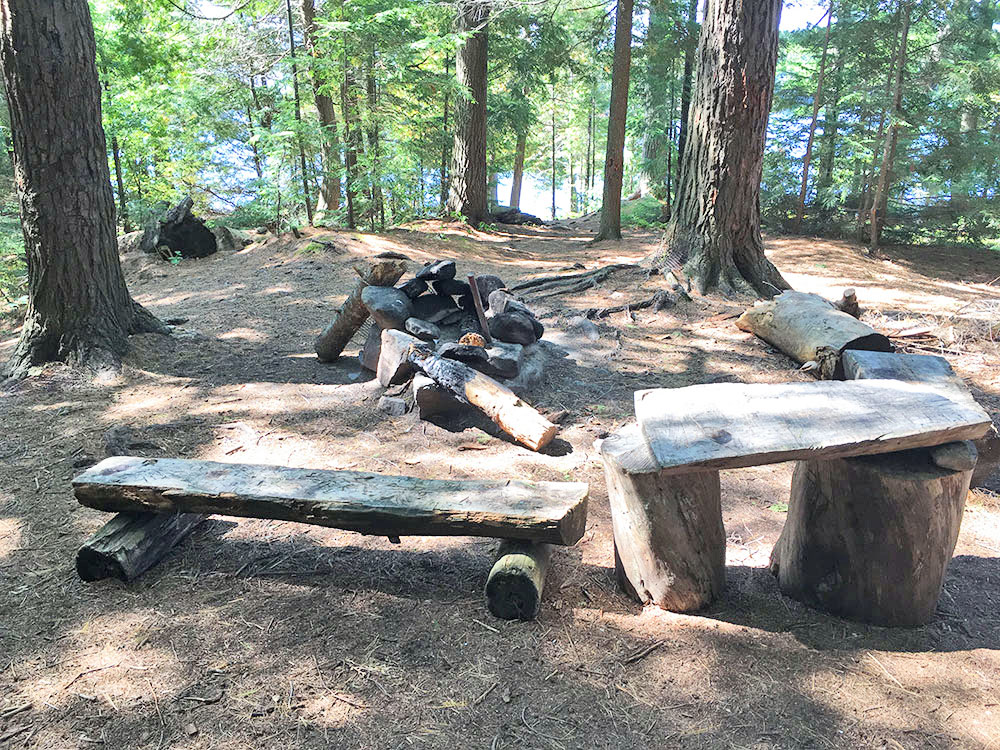 Interior fire pit and seating area on McIntosh Lake campsite #7
