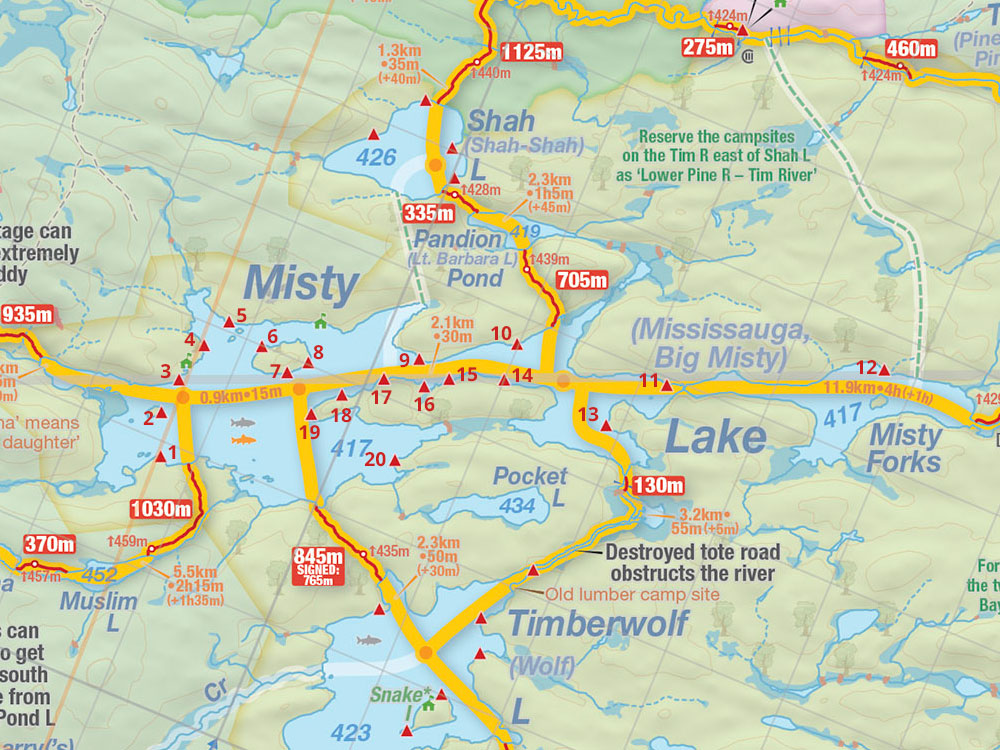 Map of Misty Lake campsites in Algonquin Park