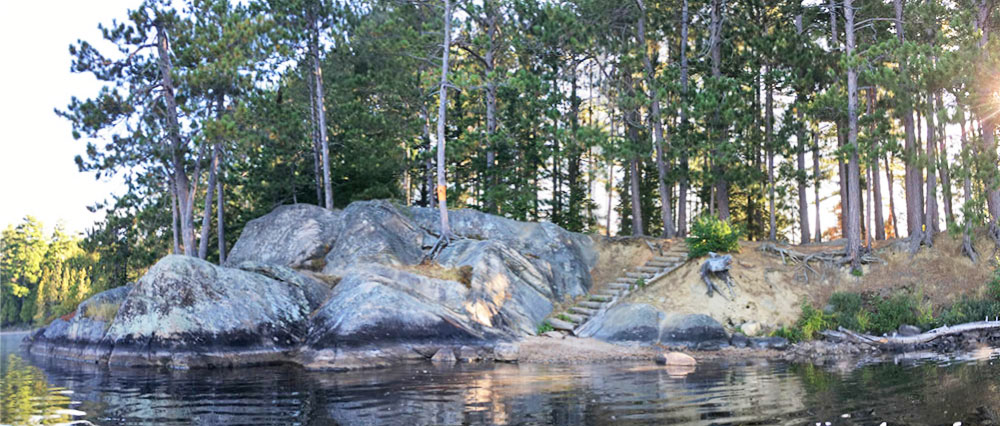 Panoramic view of the small island campsite on White Trout Lake in Algonquin Park