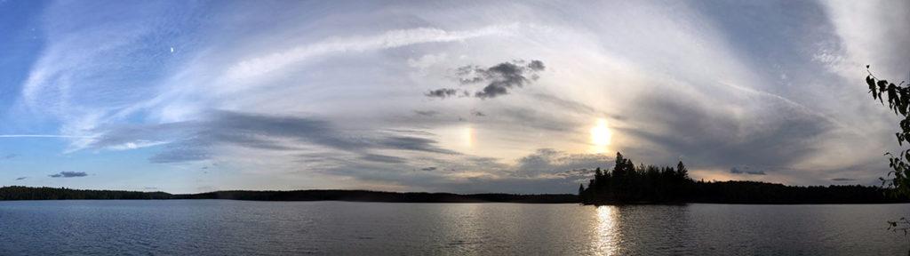Moonset, Sunset, and a rainbow on McIntosh Lake