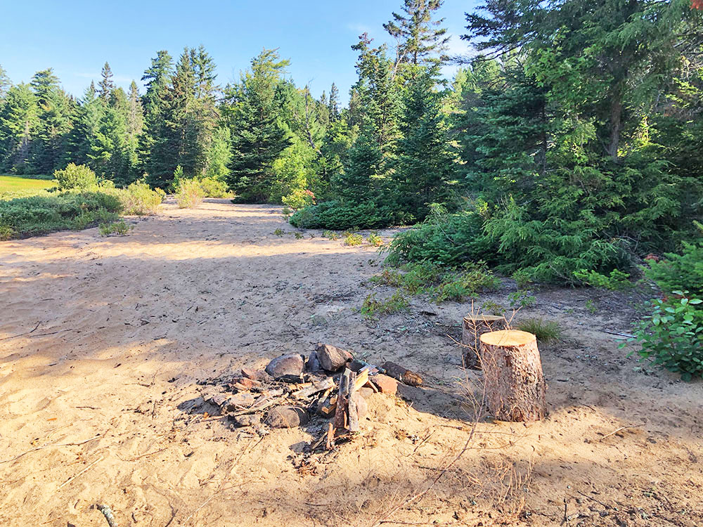 Small fire pit on the beach of campsite #1 on Harry Lake
