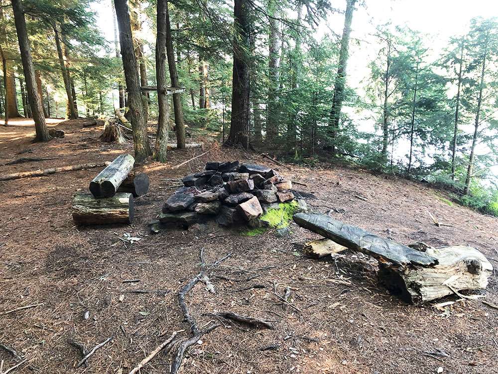 Fire pit and seating area for Harry Lake campsite in Algonquin Park