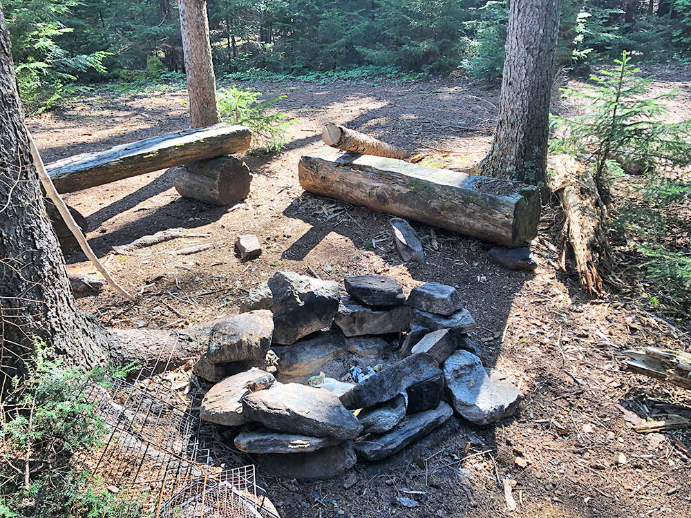 Fire pit and seating area on Harry Lake campsite
