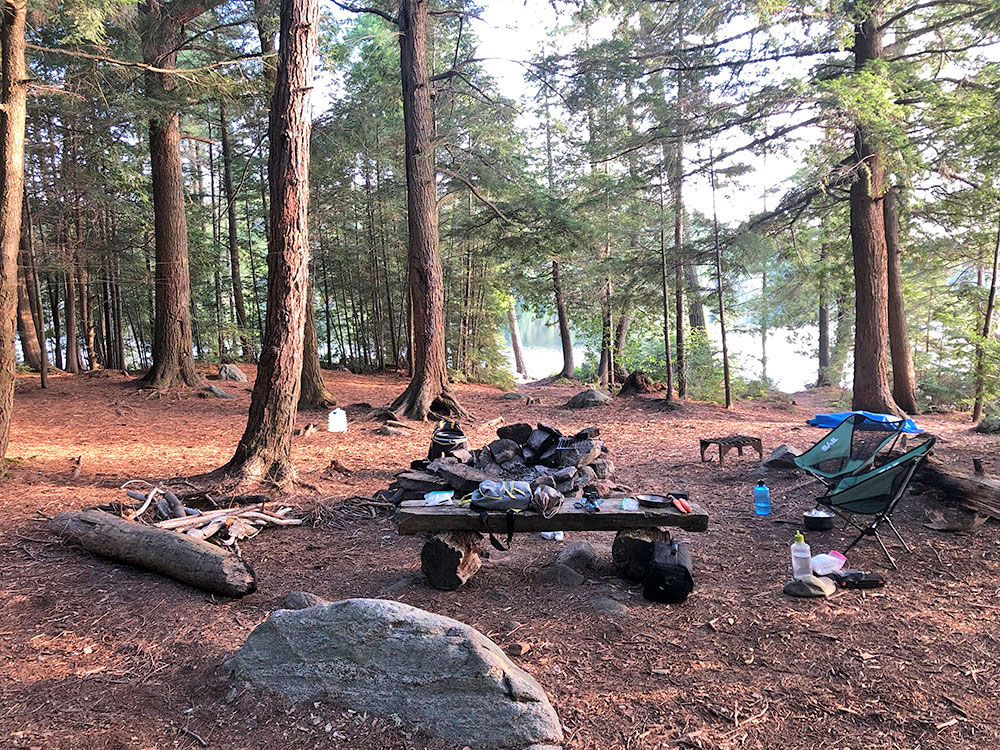 Interior of campsite #15 on Lake Louisa in Algonquin Park
