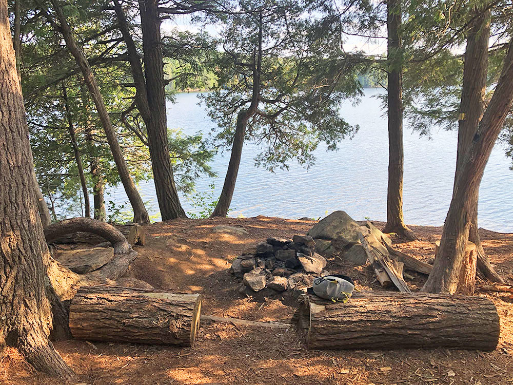 Fire pit and seating area for Lake Louisa campsite #19