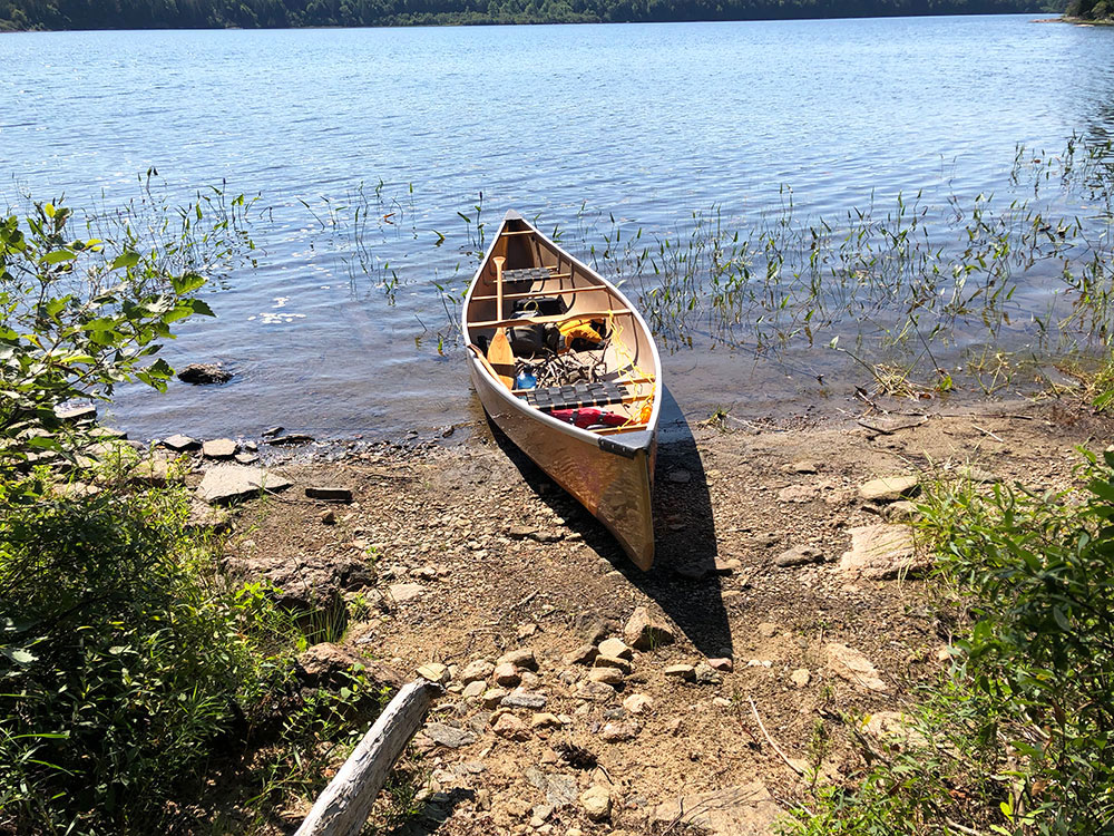 Canoe landing for Lake Louisa campsite #5