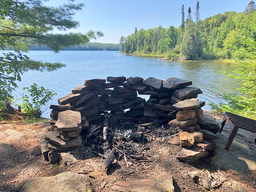 Awesome fire pit on Lake Louisa in Algonquin Park
