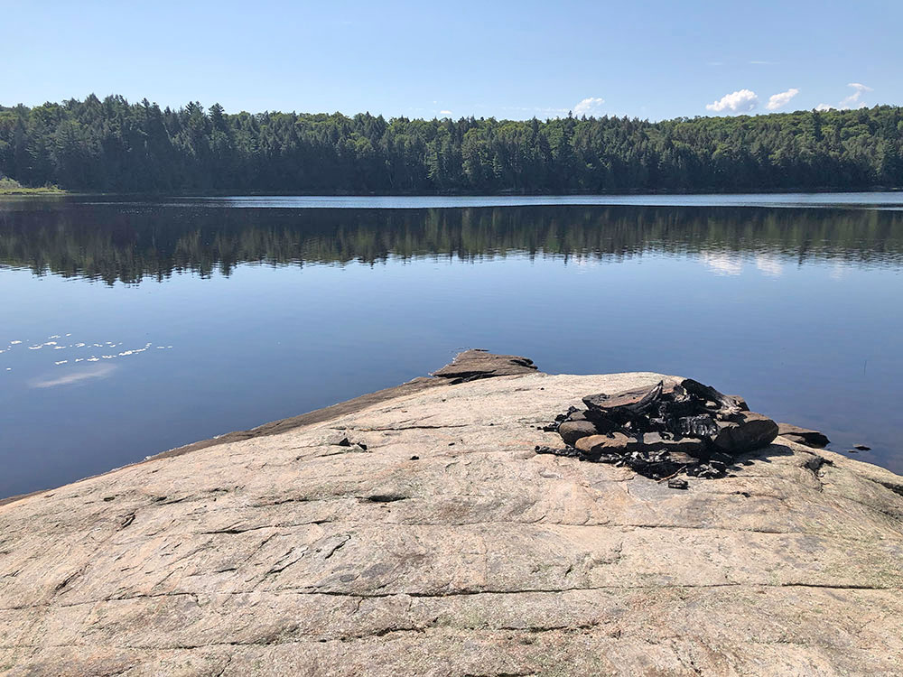 Large rock by the water on Rence Lake in Algonquin Park