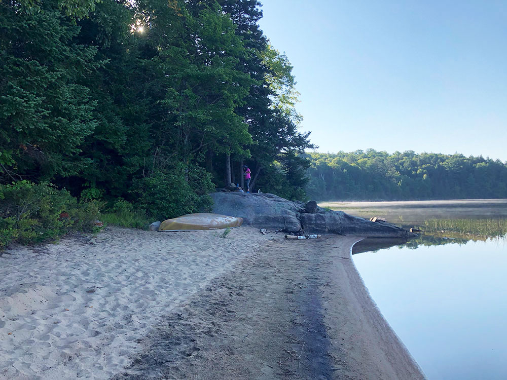 Large beachfront on Welcome Lake in Algonquin Park