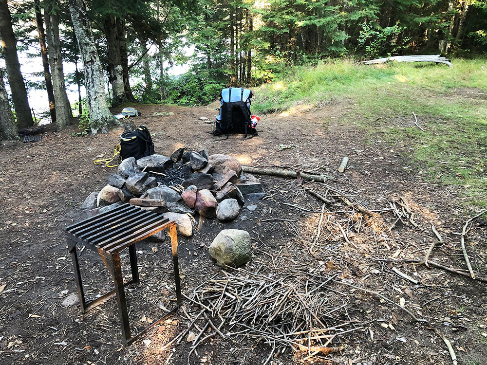 Fire pit on Welcome Lake campsite #1