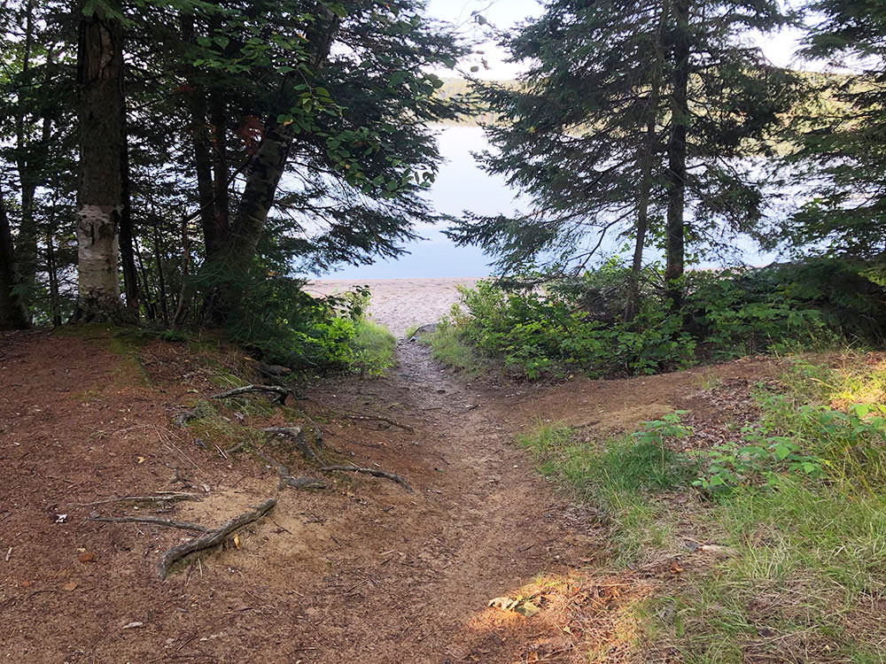 Trail from campsite to the beach on Welcome Lake
