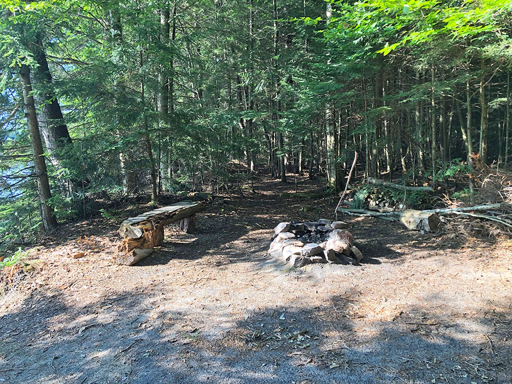 Interior of campsite #6 on Welcome Lake