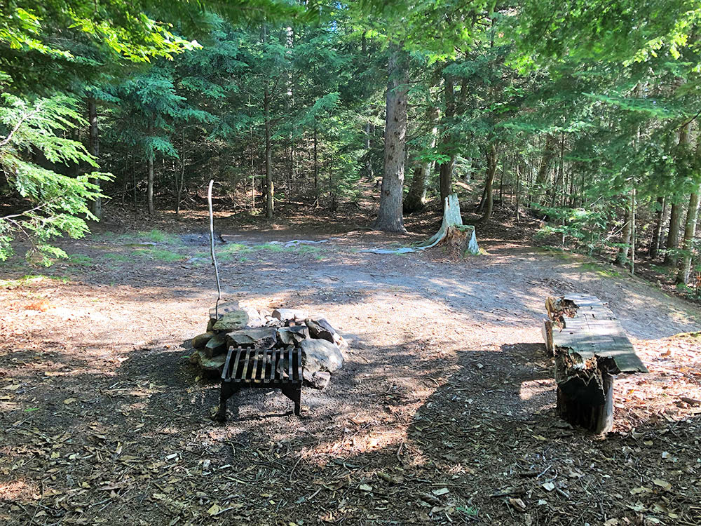 Fire pit and seating area of Welcome Lake campsite