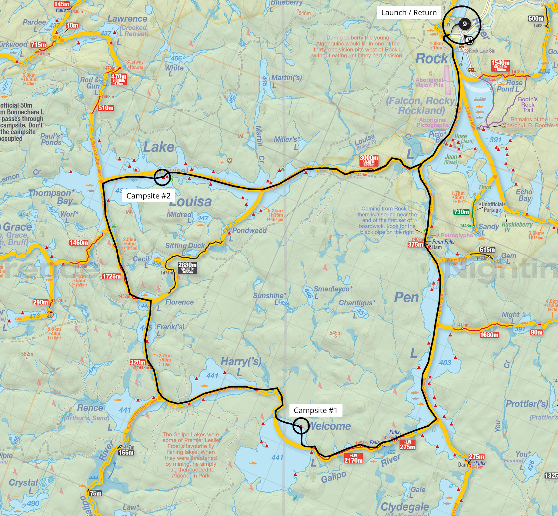 Map of trip details and campsites for Welcome to Louisa trip report in Algonquin Park