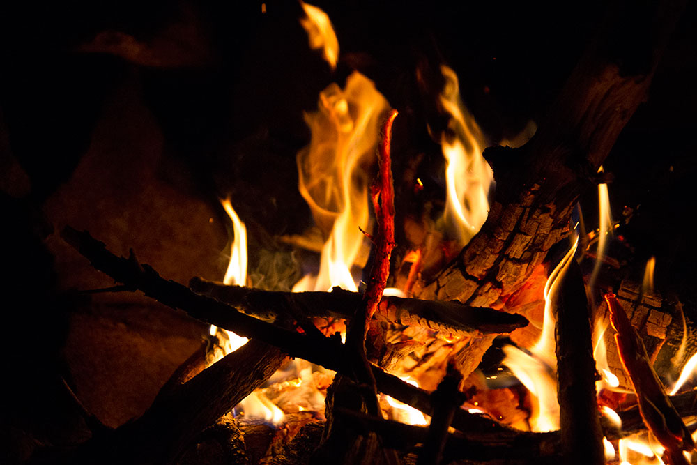 Close up of campfire on Big Trout Lake