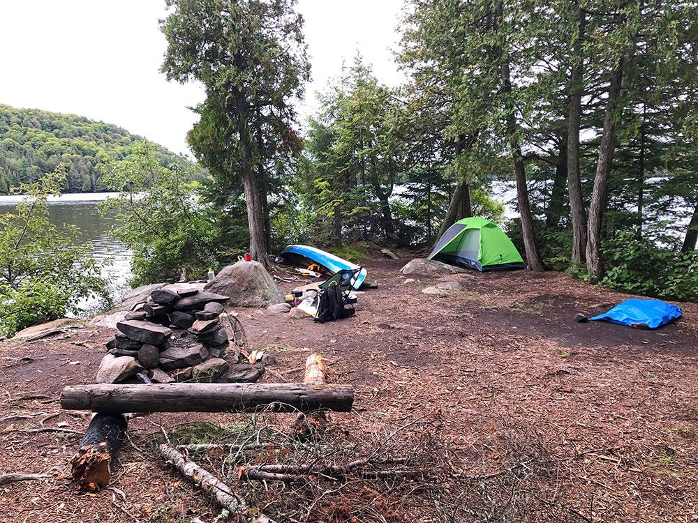 Island campsite on Otterslide Lake September 2020