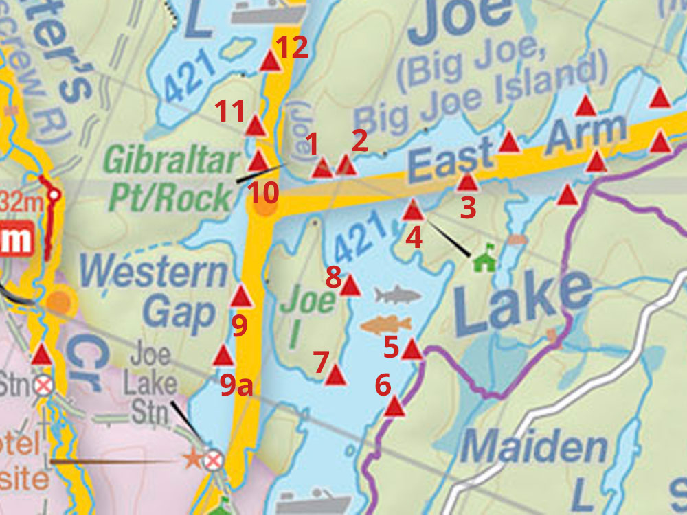 Map of campsites on Joe Lake Western Narrows in Algonquin Park