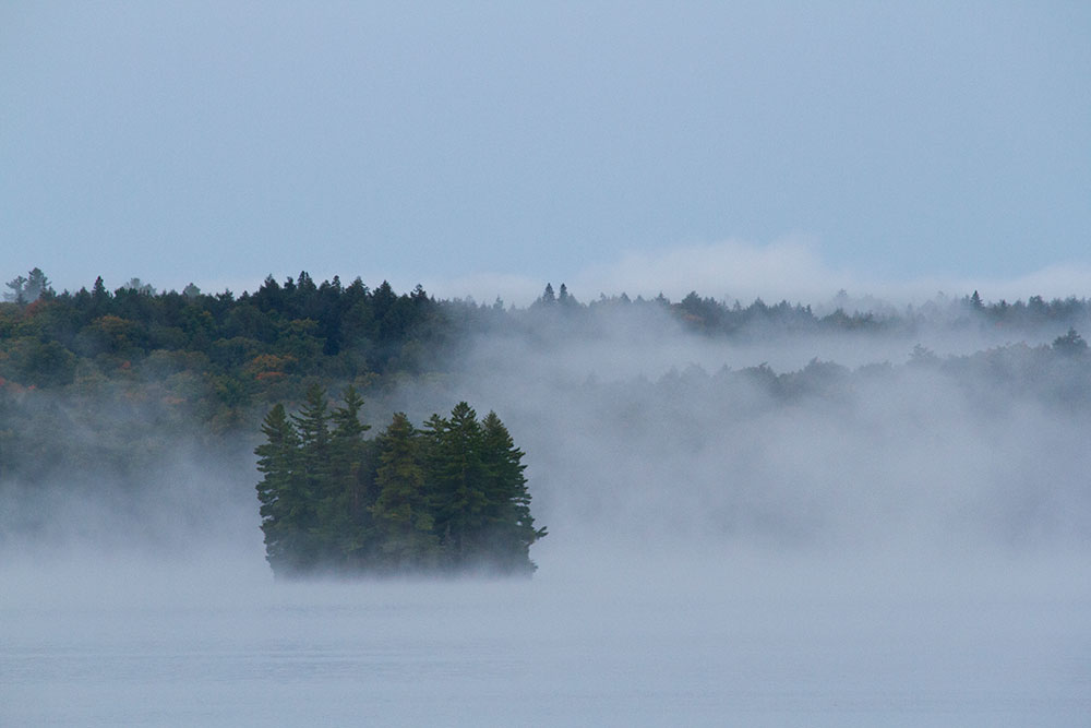 Misty morning with lots of fog on Big Trout Lake
