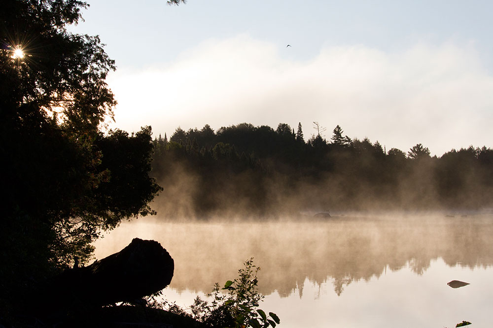 Misty morning on Otterslide Lake in Algonquin Park