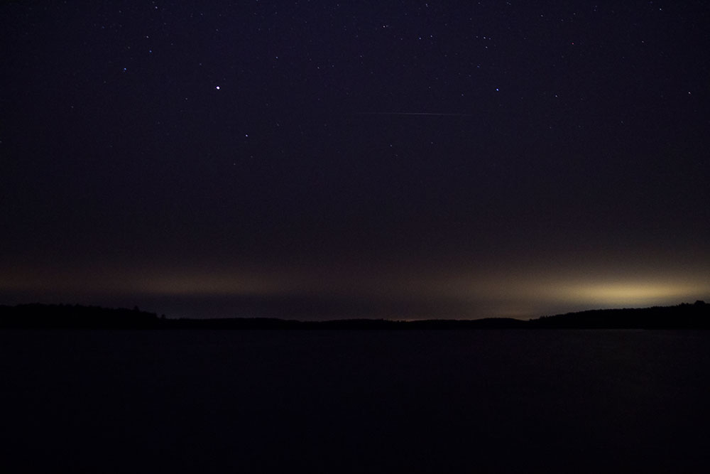 Night sky photography on Big Trout Lake in Algonquin