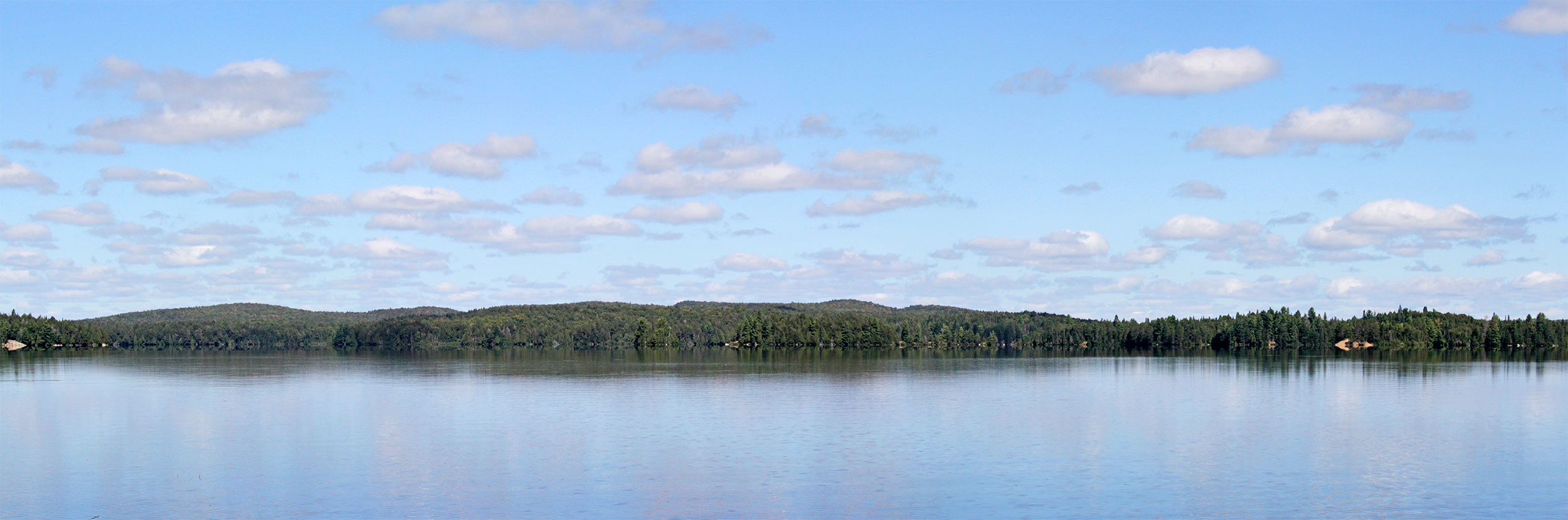 Panorama of Big Trout Lake during a sunny afternoon in September