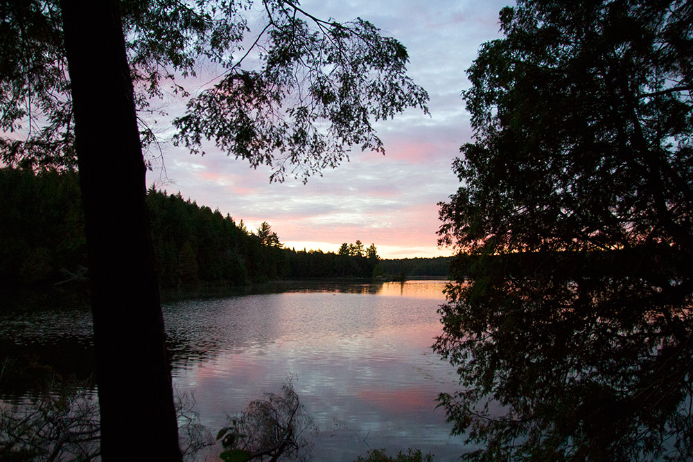 Pretty sunrise view from campsite on Big Trout Lake in Algonquin Park