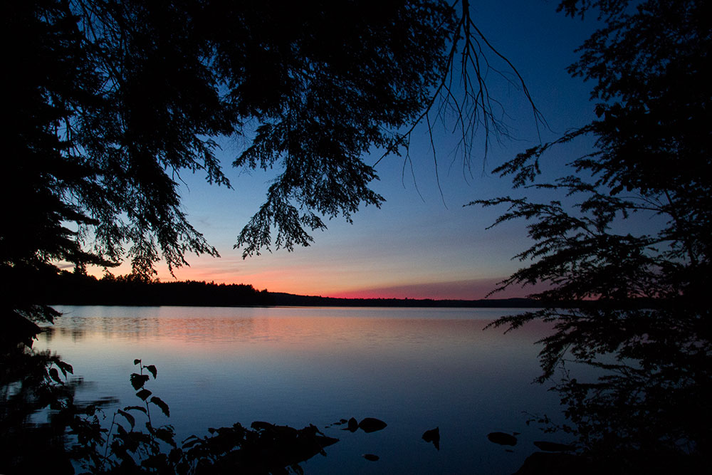 Sunset view from Big Trout Lake campsite in Algonquin