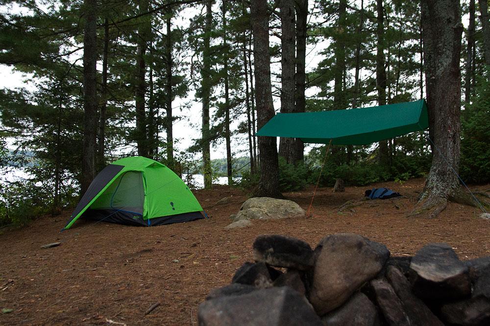 Eureka tent and Aqua Quest tarp on Big Trout Lake island campsite