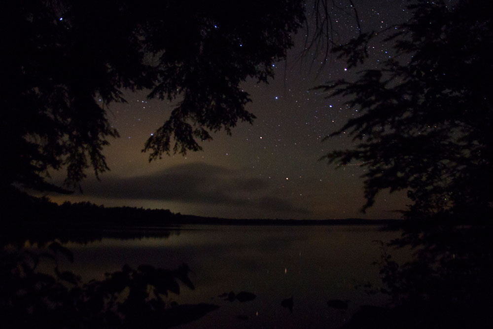 View of stars from island campsite on Big Trout Lake September 2020