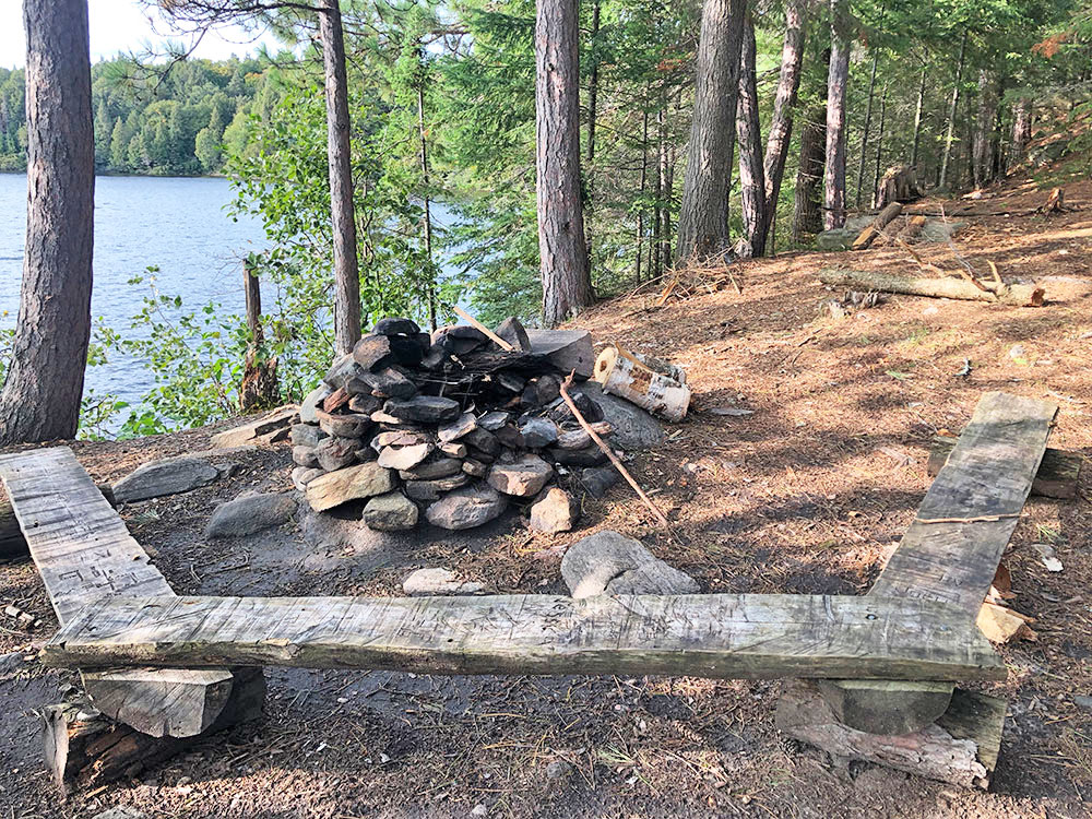 Fire pit and seating area of Campsite #12 on Big Trout Lake Algonquin