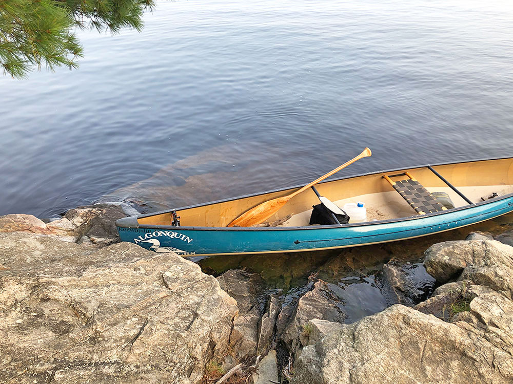 Rocky canoe landing on Big Trout Lake Campsite #13