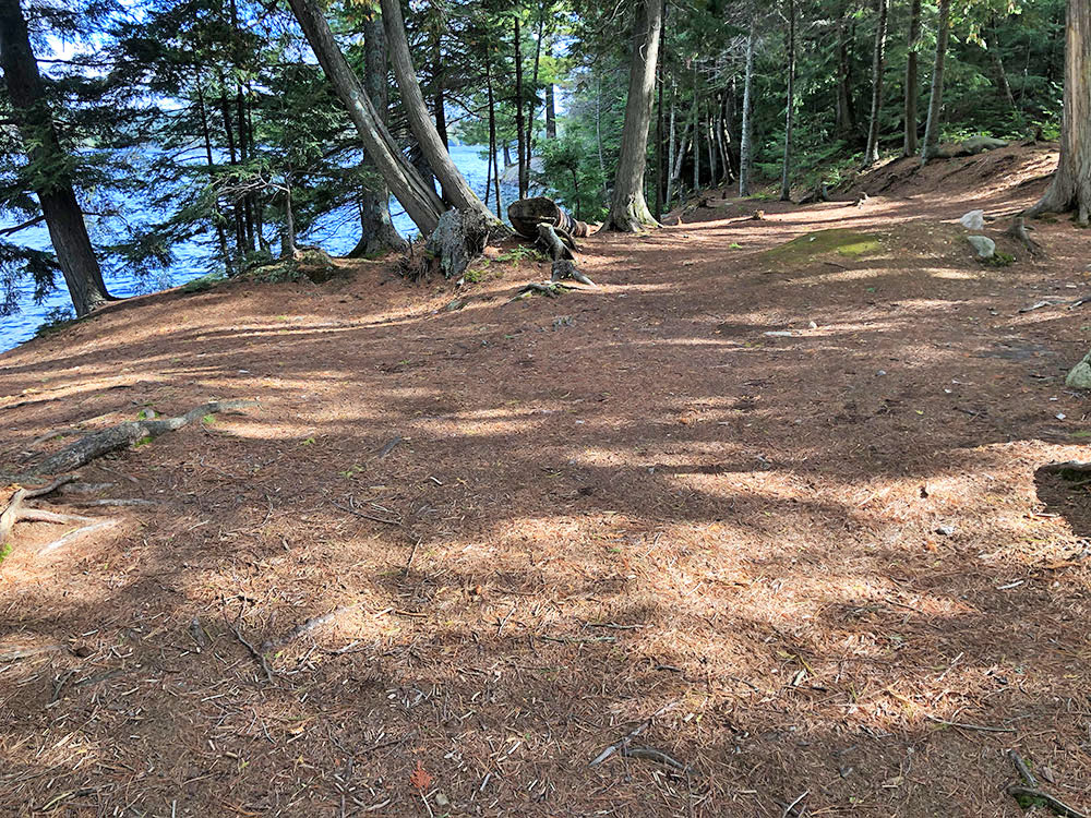 Large flat area to pitch tents on Burnt Island Lake campsite