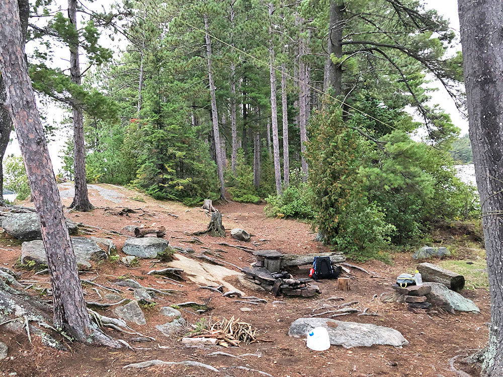 Interior of campsite 14 Anchor Island on Burntroot Lake in Algonquin