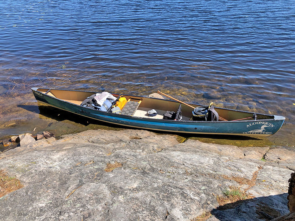 Rocky sloped canoe landing on Joe Lake Western Narrows campsite 2