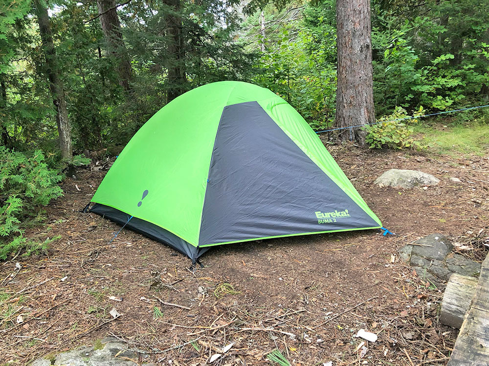 Green Eureka Suma 2 tent on Otterslide Lake campsite in Algonquin Park